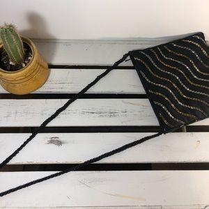 Cute Fabric & Beaded Black Crossbody Bag